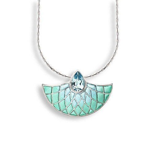 Plique-a-Jour Art Deco Fan Necklace