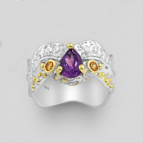 Amethyst and Orange Sapphire Free Form Ring