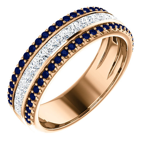 Three Row Diamond Band With Sapphire