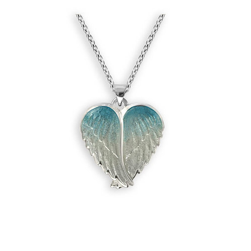 Blue and White Angel Wings Pendant