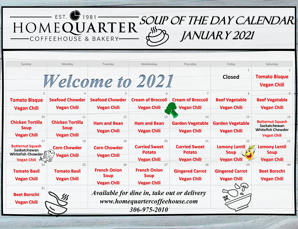 January Soups of the Day at HomeQuarter Coffeehouse