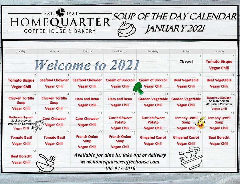 HomeQuarter Coffeehouse Soup Calendar -