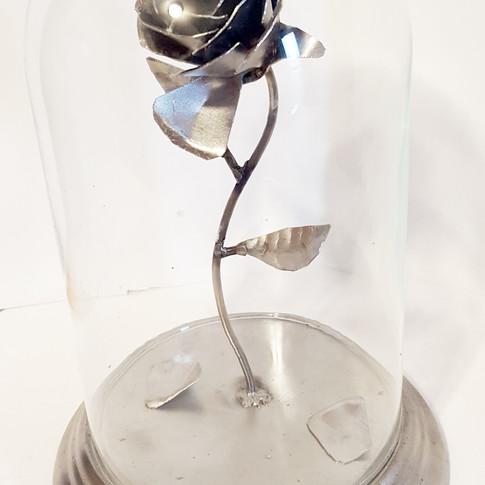 Metal Custom Rose Under Glass