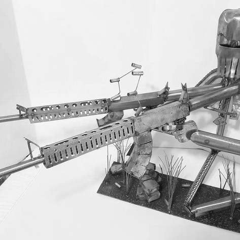 Metal Army Man Scuplture