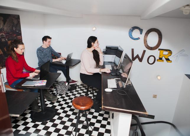 CoWorking spaces inside hostel