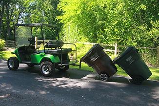 Golf cart garbage can hauler