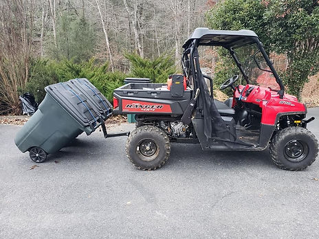 UTV garbage can hauling hooks