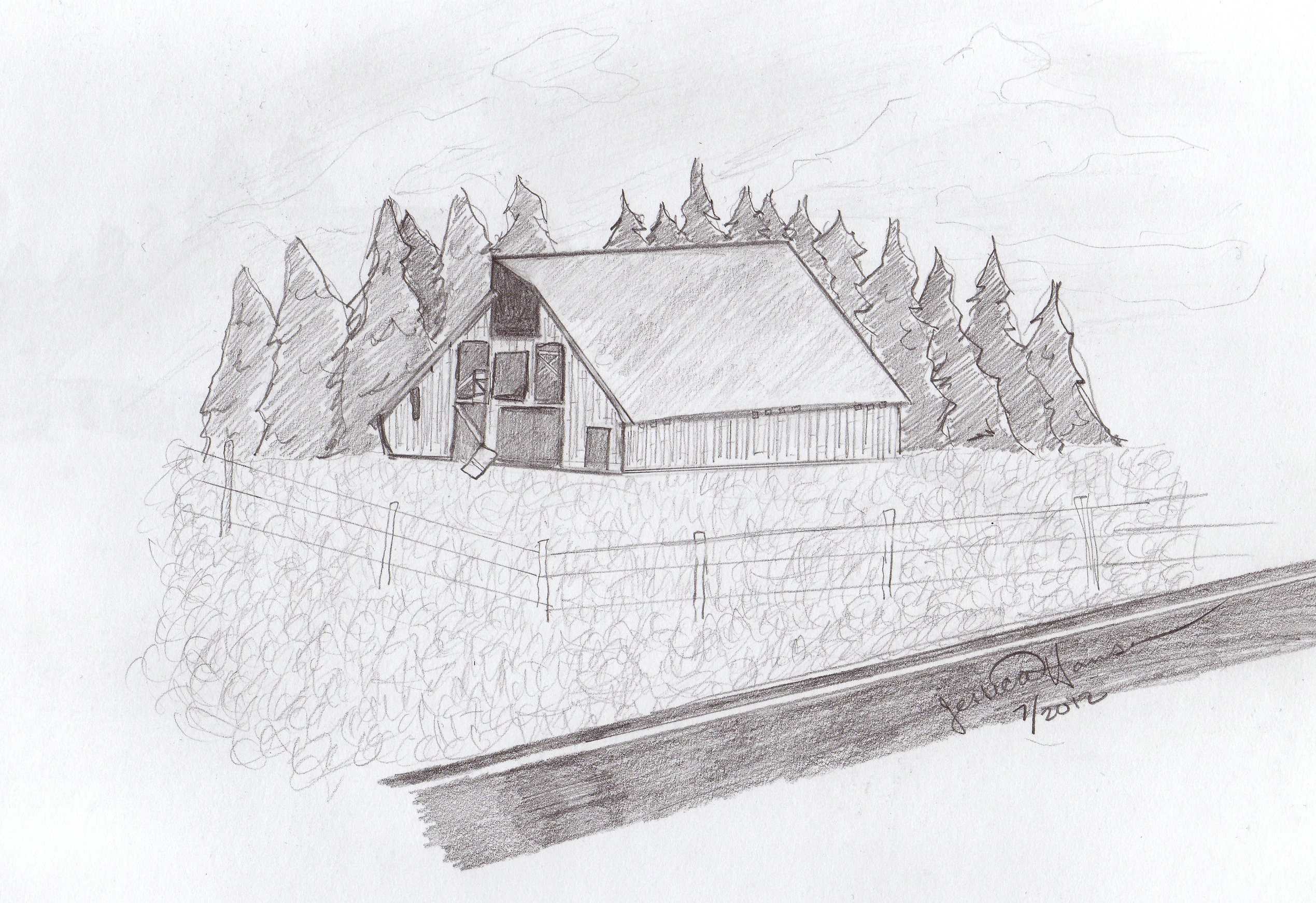 Colorado Barn Sketch