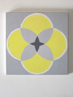 Gray and Yellow Quatrefoil