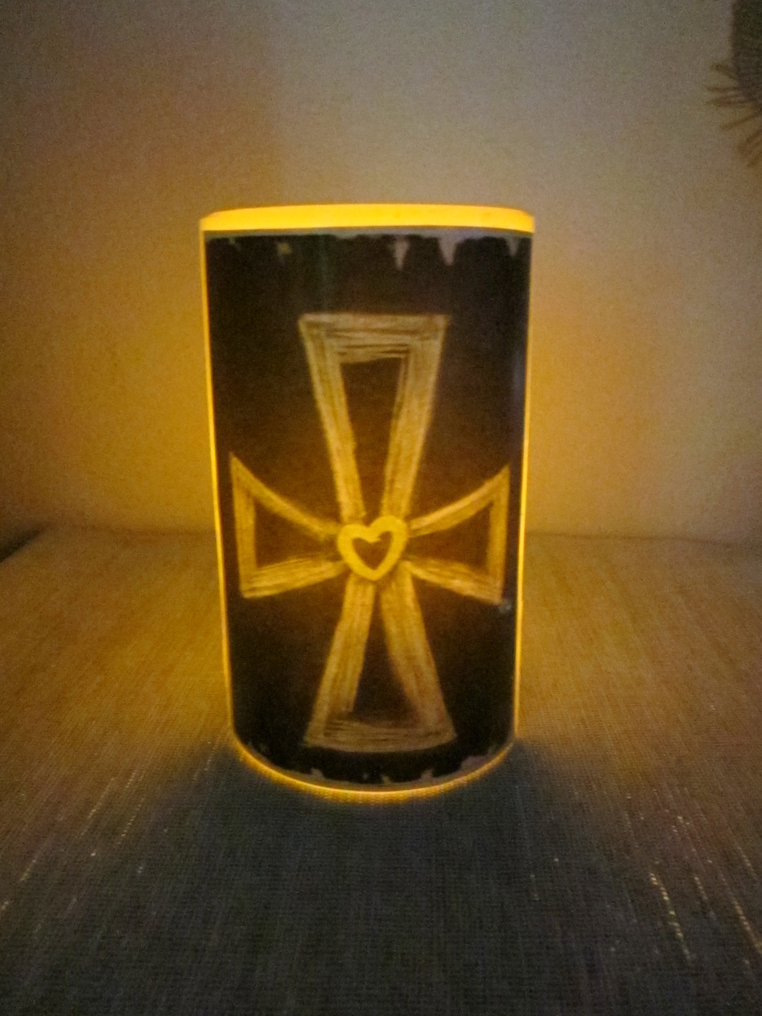 Yellow Heart Cross Flameless Candle