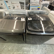 Samsung Black Stainless Electric Laundry Set - $875 - Used/Refurbished - (#23D2D)