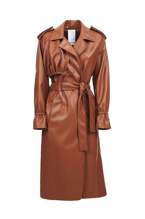 TRENCH VEGAN NAPPA BROWN