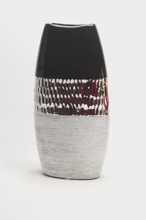 Keramikas vāze melna, sudrabota