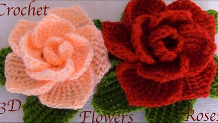 Como hacer flores rosas 3D con hojas a C