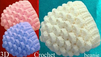 Gorro a Crochet punto marshmallow malvav