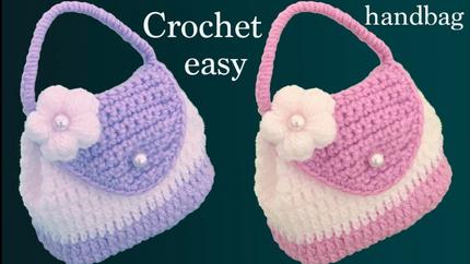 Bolso monedero a Crochet con flor punto