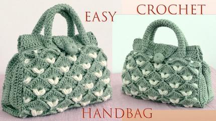 Bolso a Crochet Punto Bicolor 3D en reli