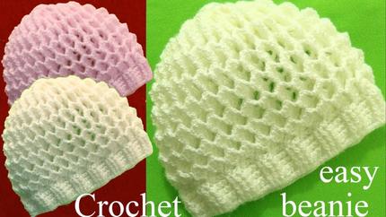 Gorro a Crochet en punto 3D panal o nido