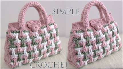 Bolso fácil a Crochet Punto Tricolor 3D