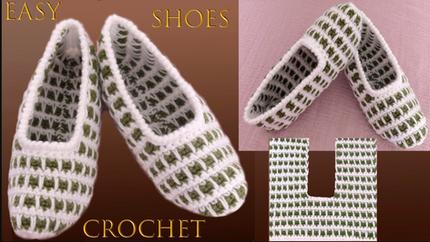 Zapatos a Crochet de dos colores Punto F