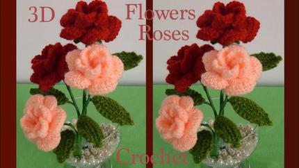 Como hacer flores rosas a Crochet en 3D