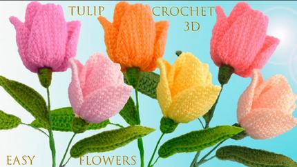 CComo hacer Tulipanes a Crochet en punto