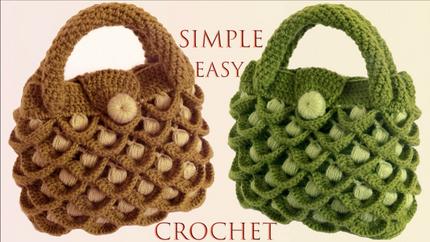 Bolso a Crochet en punto 3D plumas pavo