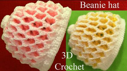 Gorro a Crochet 3D en punto panal o nido