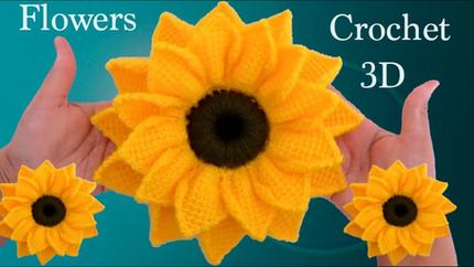 Como hacer girasoles en 3D a Crochet en