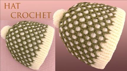 Gorro a Crochet Punto 3D de dos colores