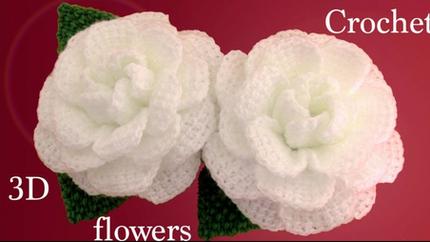 Como hacer flores en 3D Camelias a Croch