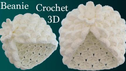 Gorro a Crochet punto marshmallow y flor
