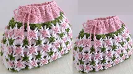 Bolso Fácil a Crochet Punto 3D flores e