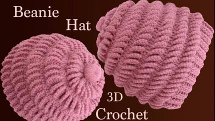 Gorro a Crochet en punto abanicos de lad