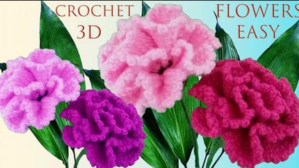 Como hacer flores muy fácil a Crochet c