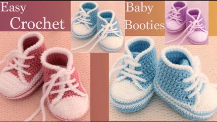 Zapatillas a Crochet para bebes paso a p