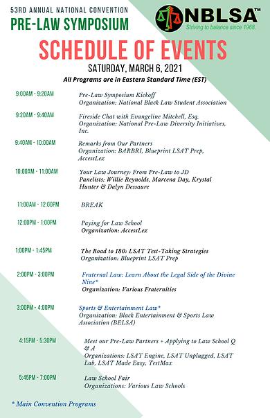 NBLSA Pre-Law Symposium - Schedule of Ev