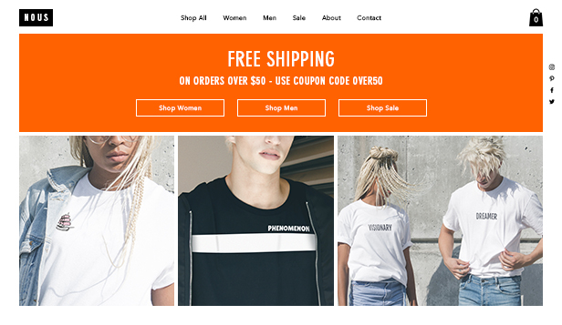 Webshop website templates – T-Shirt Store