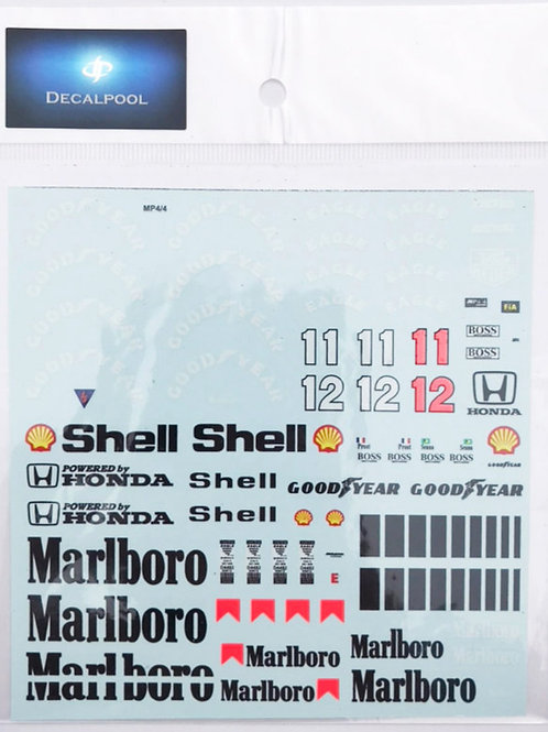 1/20 McLaren MP4/4 Tobacco '88 A. Senna Decal