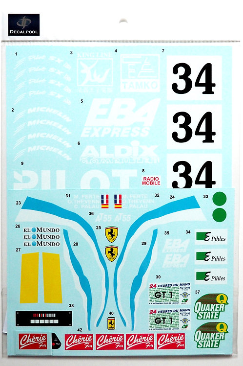 1/8 Ferrari F40 LM PILOT LeMans '95 Decal for Centauria / Pocher