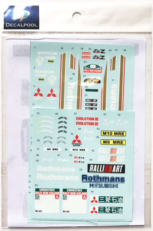 1/24 Mitsubishi Lancer Evolution III Rothmans #10/11 New Zealand Rally '95
