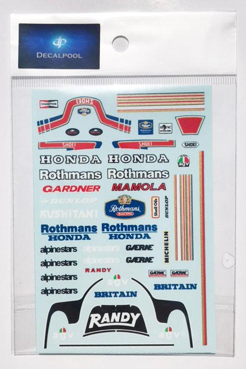 1/12 Honda Rothmans '85 WGP W.Garder / R. Mamola Rider