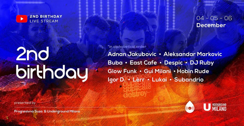 Line up for 2nd Progresivna Suza Birthday. Subandrio, East Cafe, Lukai, Adnan Jakubovic and others.