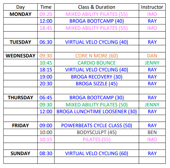 Class Timetable for WIX - April - May 20