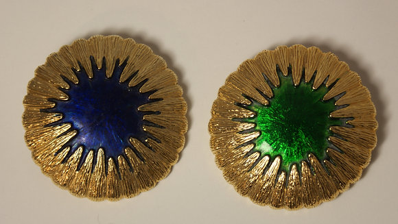 A pair of Large Enamel Gold Tone Brooches