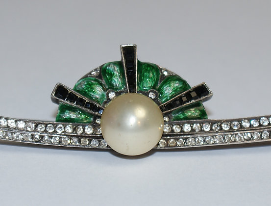 An Art Deco Paste and Enamel Brooch