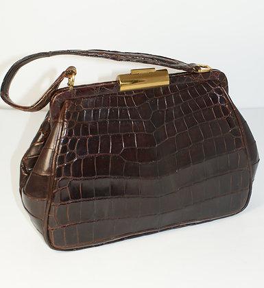 A Brown Crocodile Handbag