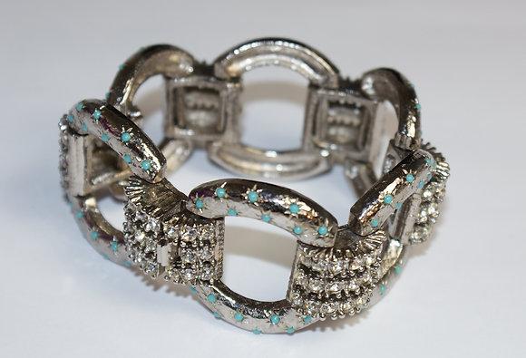White Paste and Blue Stone Link Bracelet
