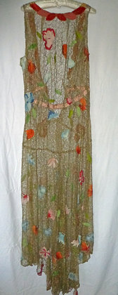A fabulous 1930's gold lace dress with applique