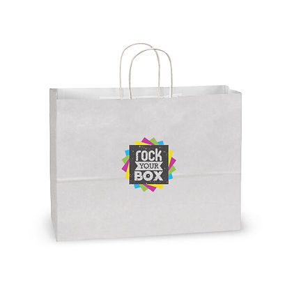 Full color custom printed white bag